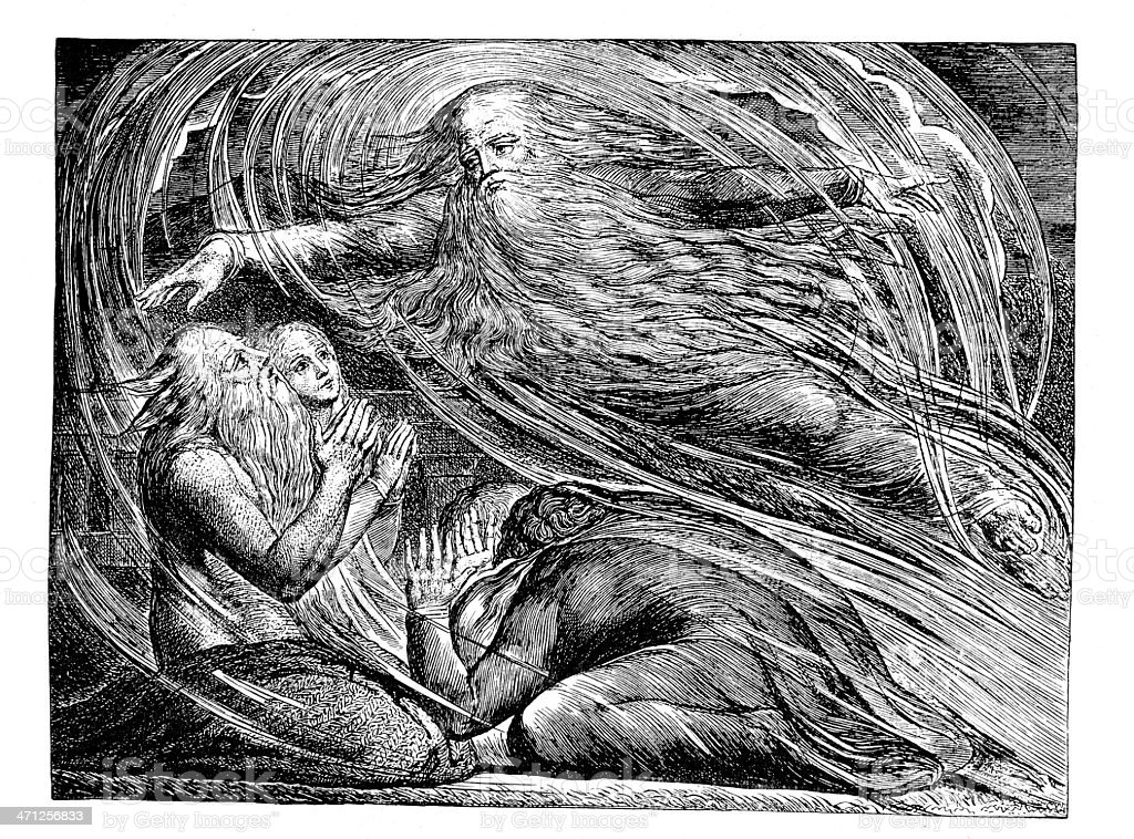 """Old bible engraving """"God Answering Job out of the Whirlwind"""" royalty-free stock vector art"""