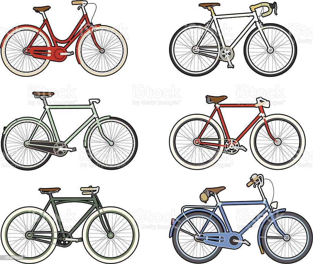 Old bicycles royalty-free stock vector art