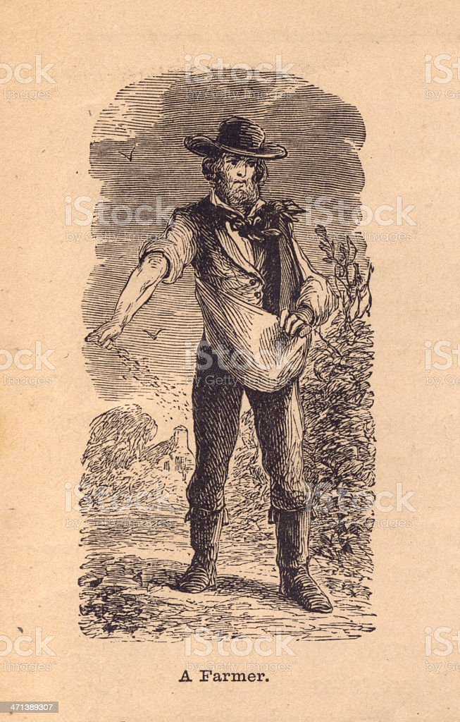 Old Black and White Illustration of a Farmer, From 1800s vector art illustration