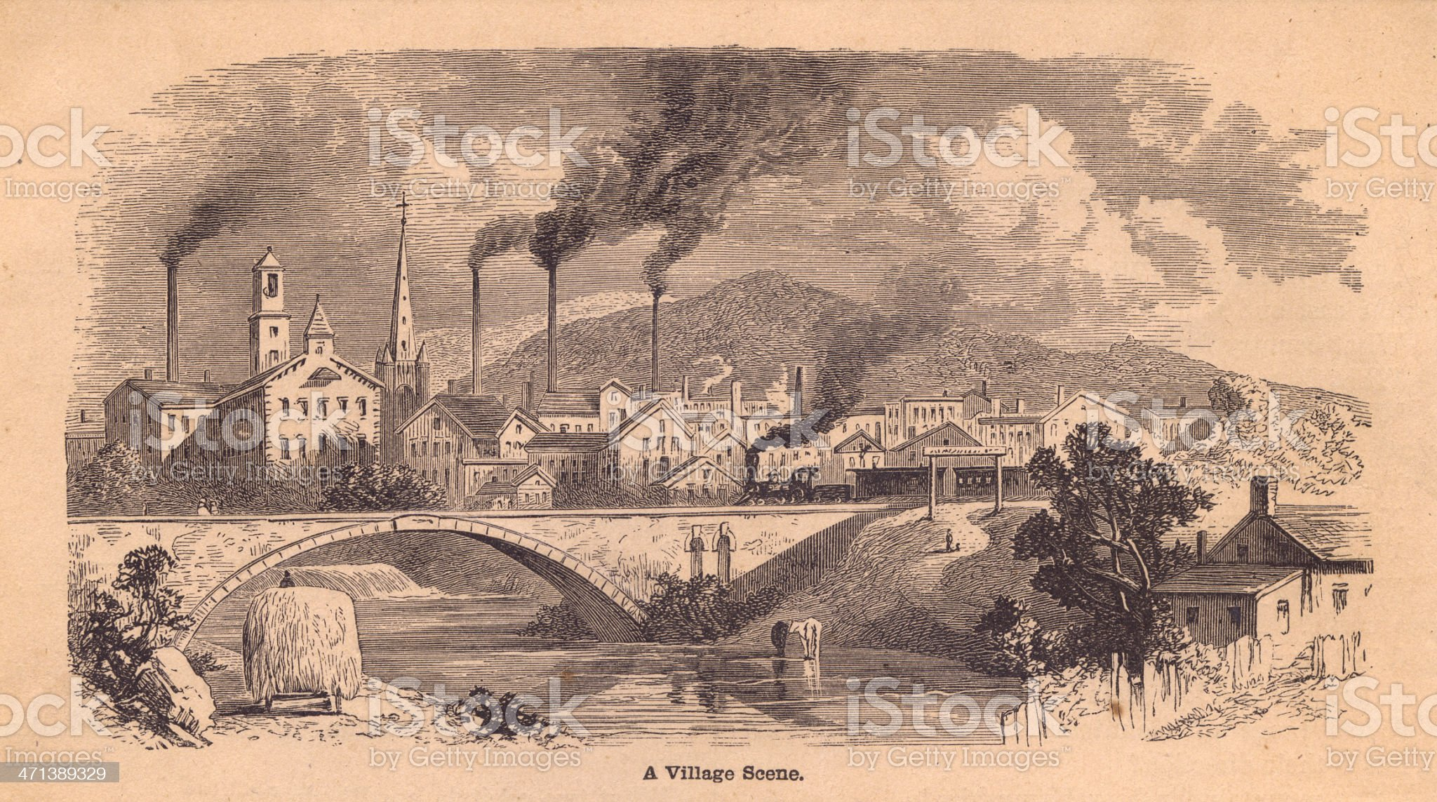Old, Black and White Illustration of a Village Scene, 1800's royalty-free stock vector art