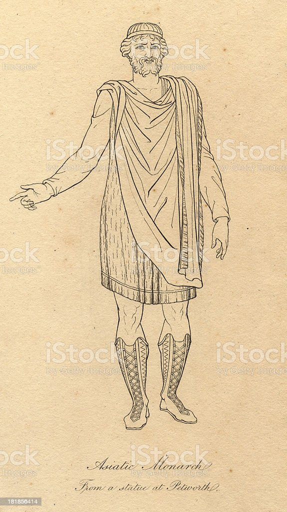 Old Black and White Illustration of Asiatic Monarch Costume, 1812 royalty-free stock vector art