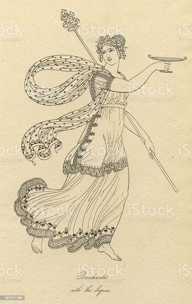 Old Black and White Illustration of Bacchante With the Thyrsus vector art illustration