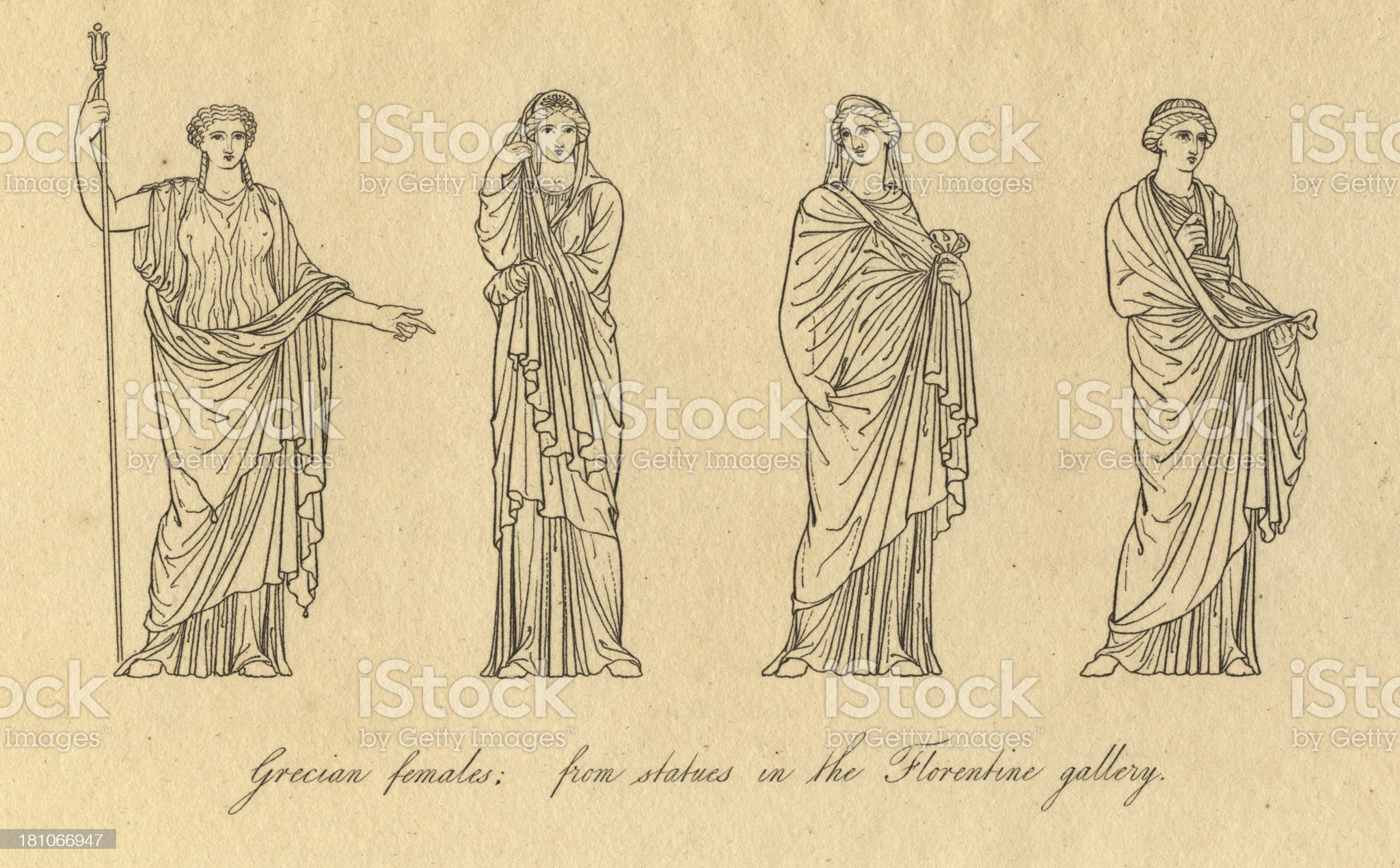 Old Black and White Illustration of Grecian Female Costumes royalty-free stock vector art