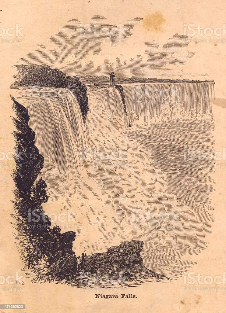 Old, Black and White Illustration of Niagara Falls royalty-free stock vector art