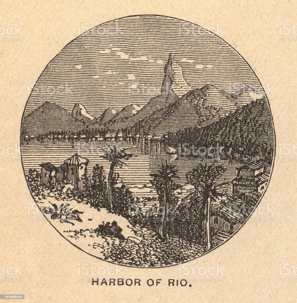 Old, Black/White Illustration Showing Harbor of Rio, 1800's vector art illustration
