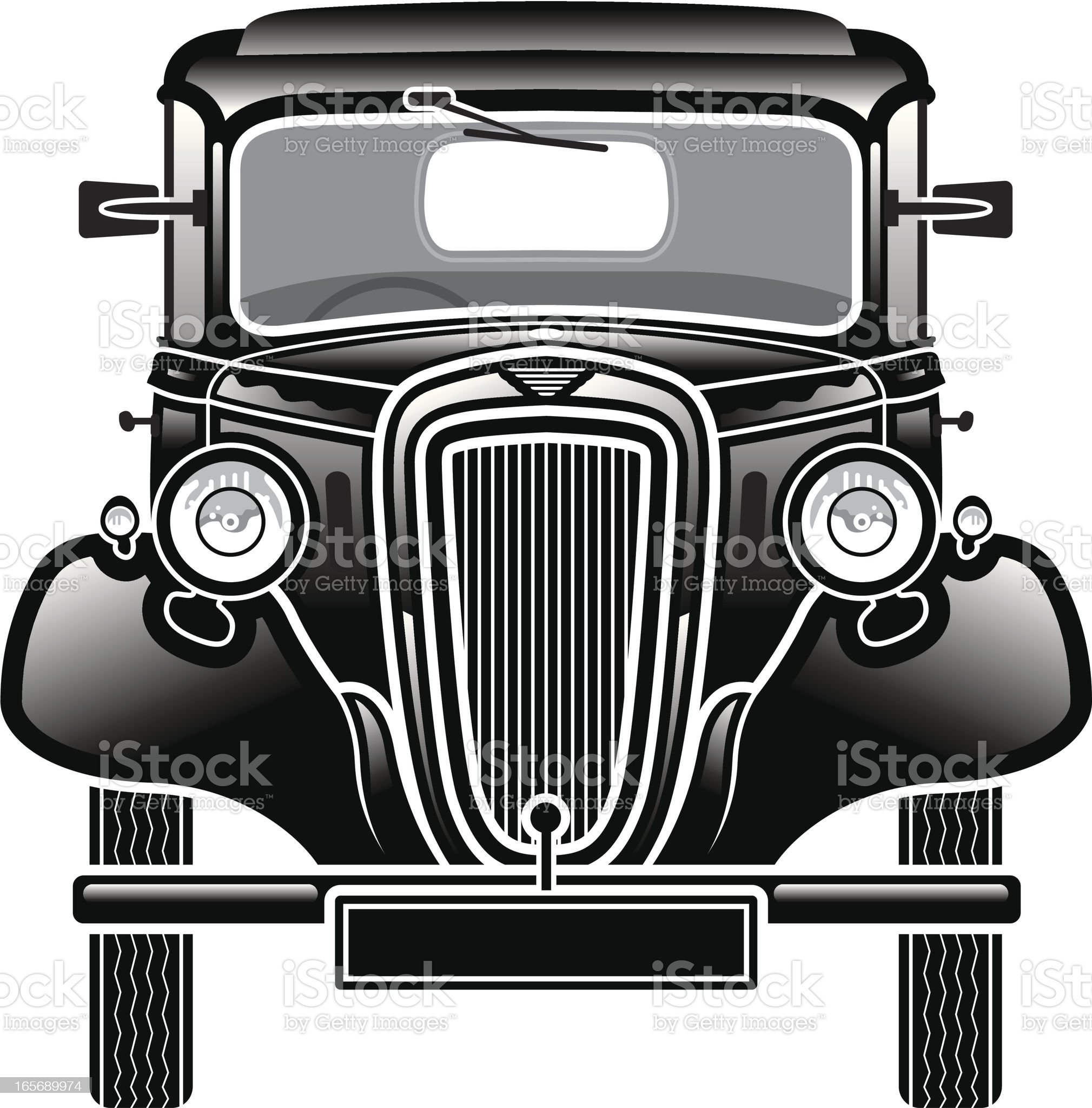 Old car front. royalty-free stock vector art