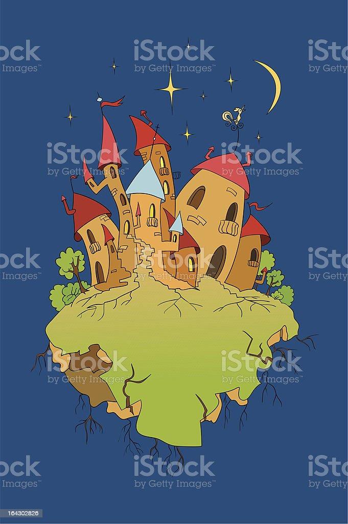 Velho castelo na noite de espaço vetor e ilustração royalty-free royalty-free