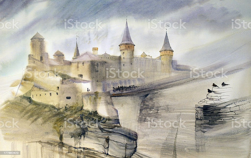 Old castle of Kamianets-Podilskyi in Ukraine royalty-free stock vector art