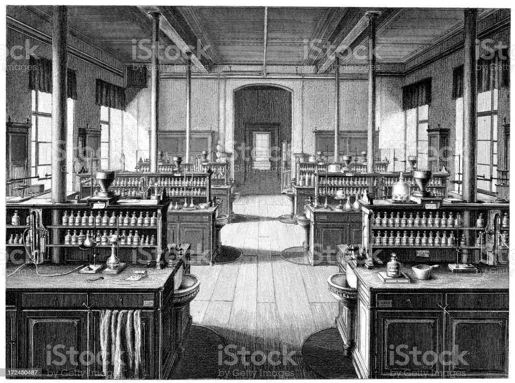 Old Chemical laboratory royalty-free stock vector art