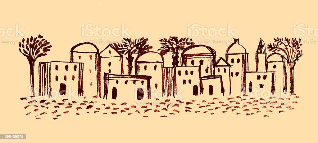 Old City, Illustration,Sketch, East Ancient Town vector art illustration