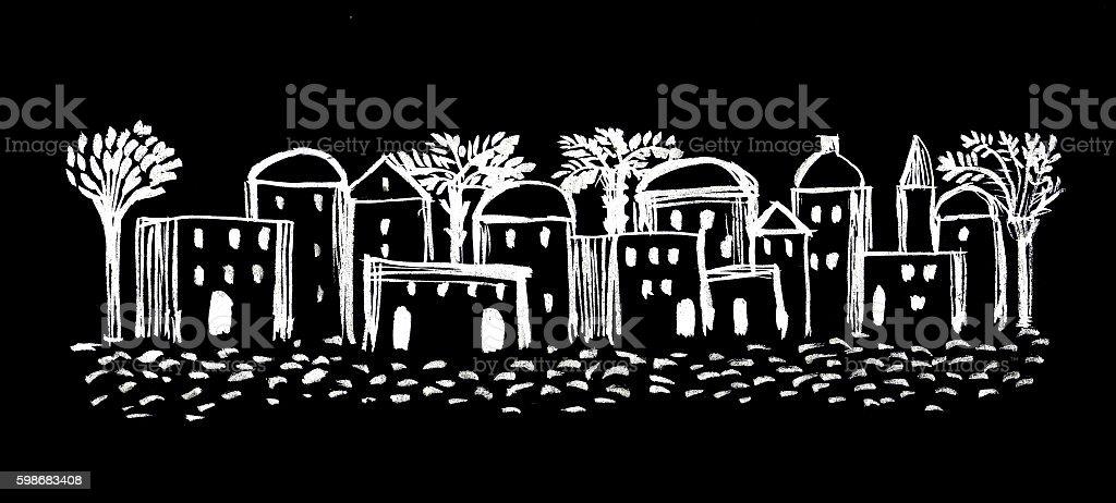 Old City, Illustration,Sketch, Middle East Ancient Town vector art illustration
