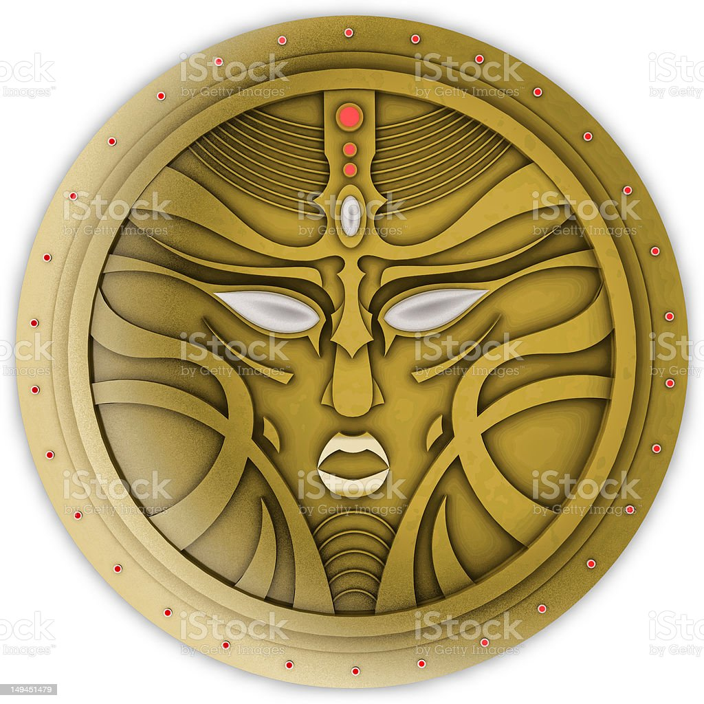 Old coin icon with face mask vector art illustration