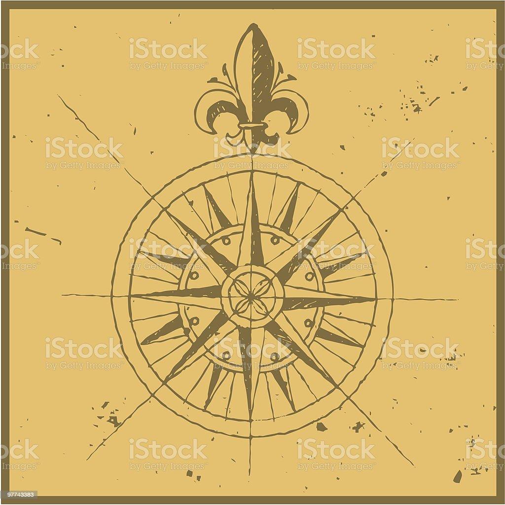 Old compass vector art illustration