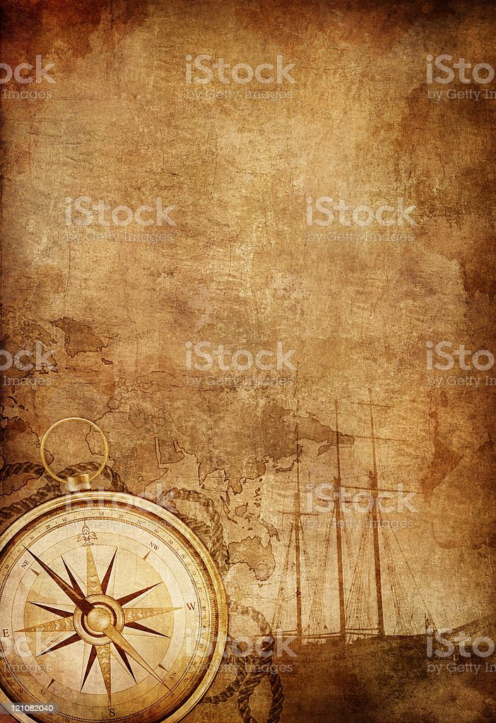 Old compass with blurry background royalty-free stock vector art