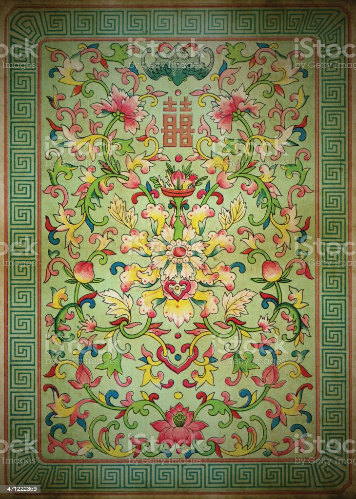 Old Dirty Asian Wallpaper royalty-free stock vector art