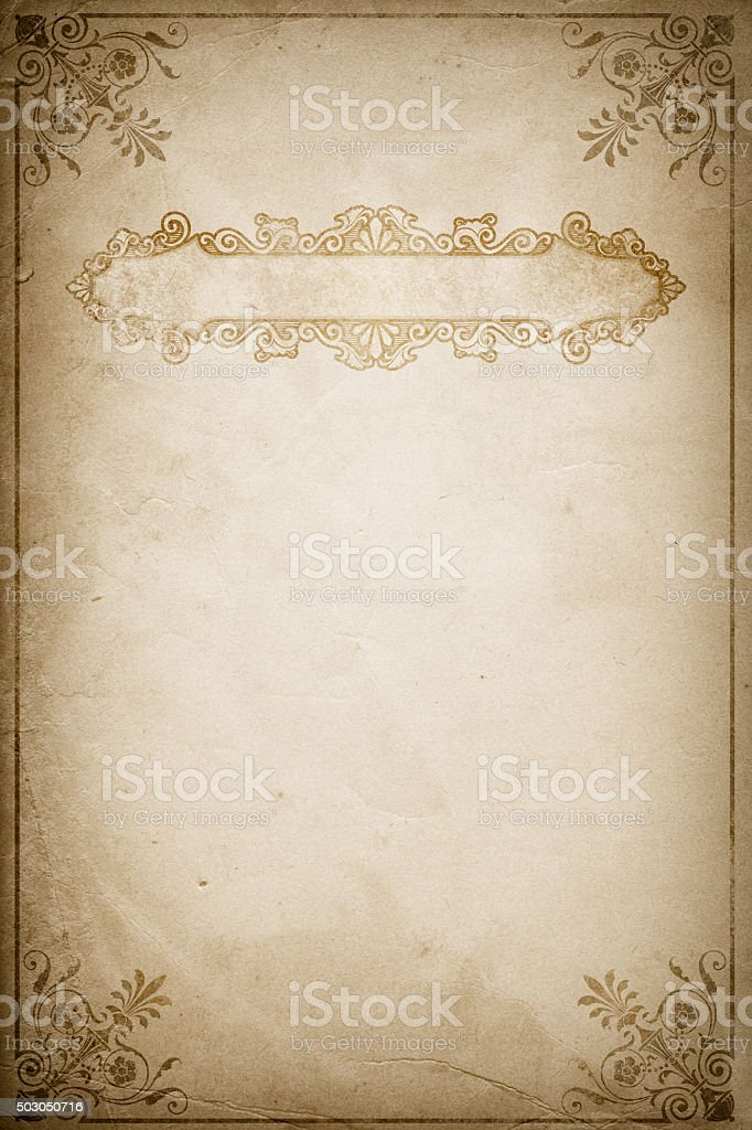 Old dirty paper background with old-fashioned border. vector art illustration