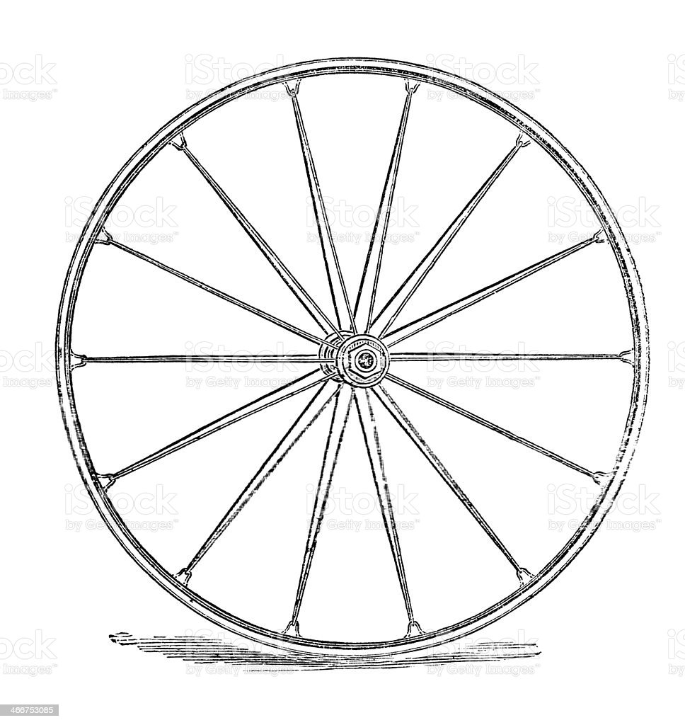Old Early bicycle wheel rubber covered wooden stock photo