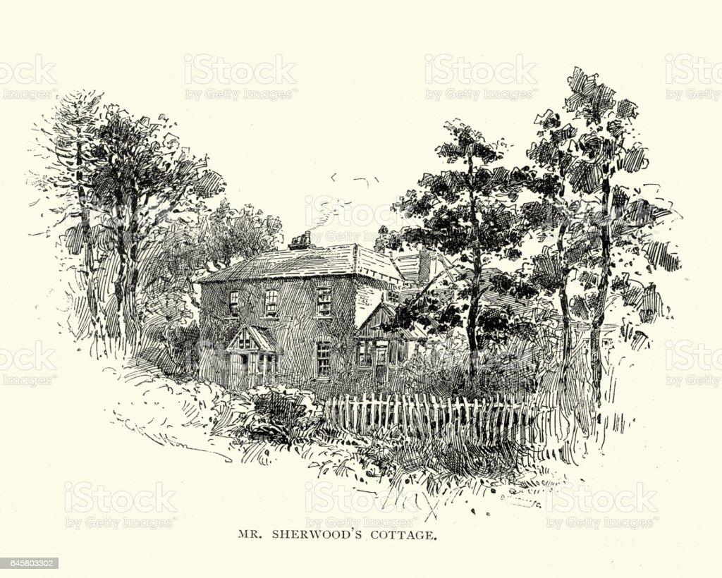 Old English Cottage, Epsom, 1892 vector art illustration