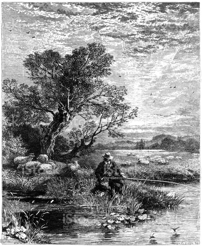 Old English pastimes - Angling vector art illustration