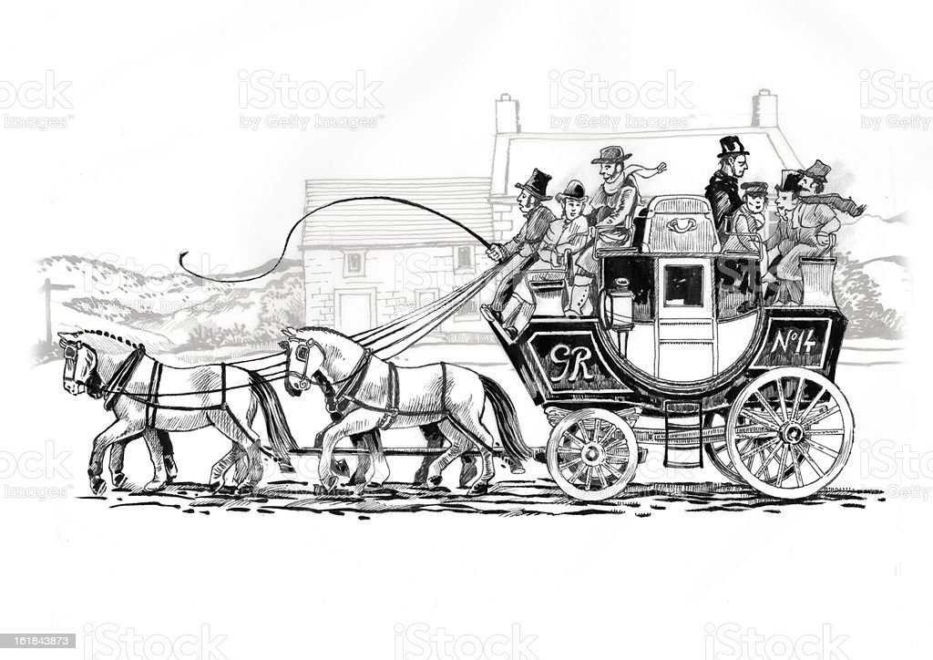 Old English Stagecoach royalty-free stock vector art