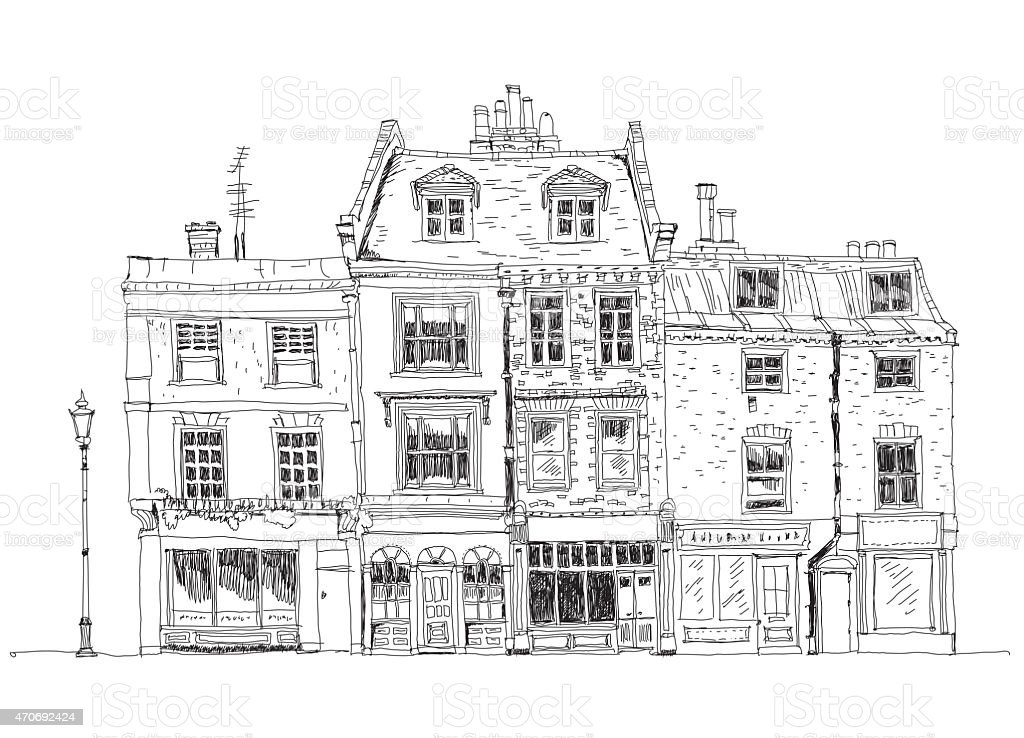 Old English town house, London. Sketch collection vector art illustration
