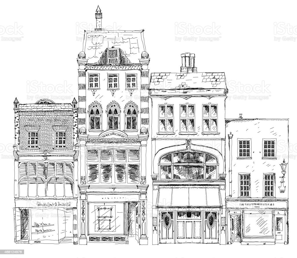 Old English town houses Bond street, London. Sketch collection vector art illustration