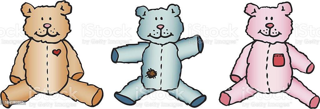 old fashion teddy bears royalty-free stock vector art