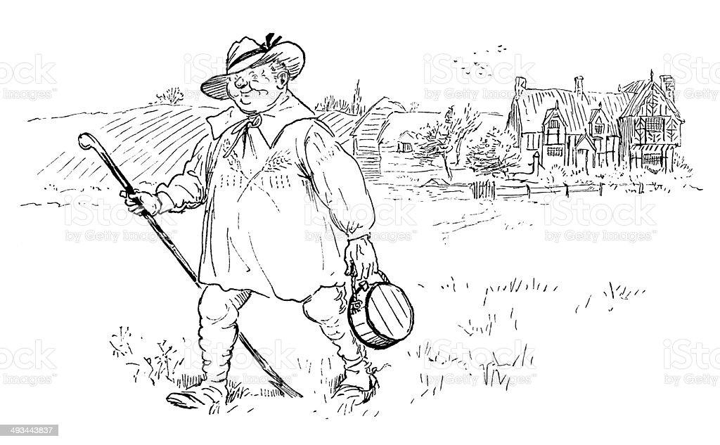 Old fashioned farmer in a smock vector art illustration