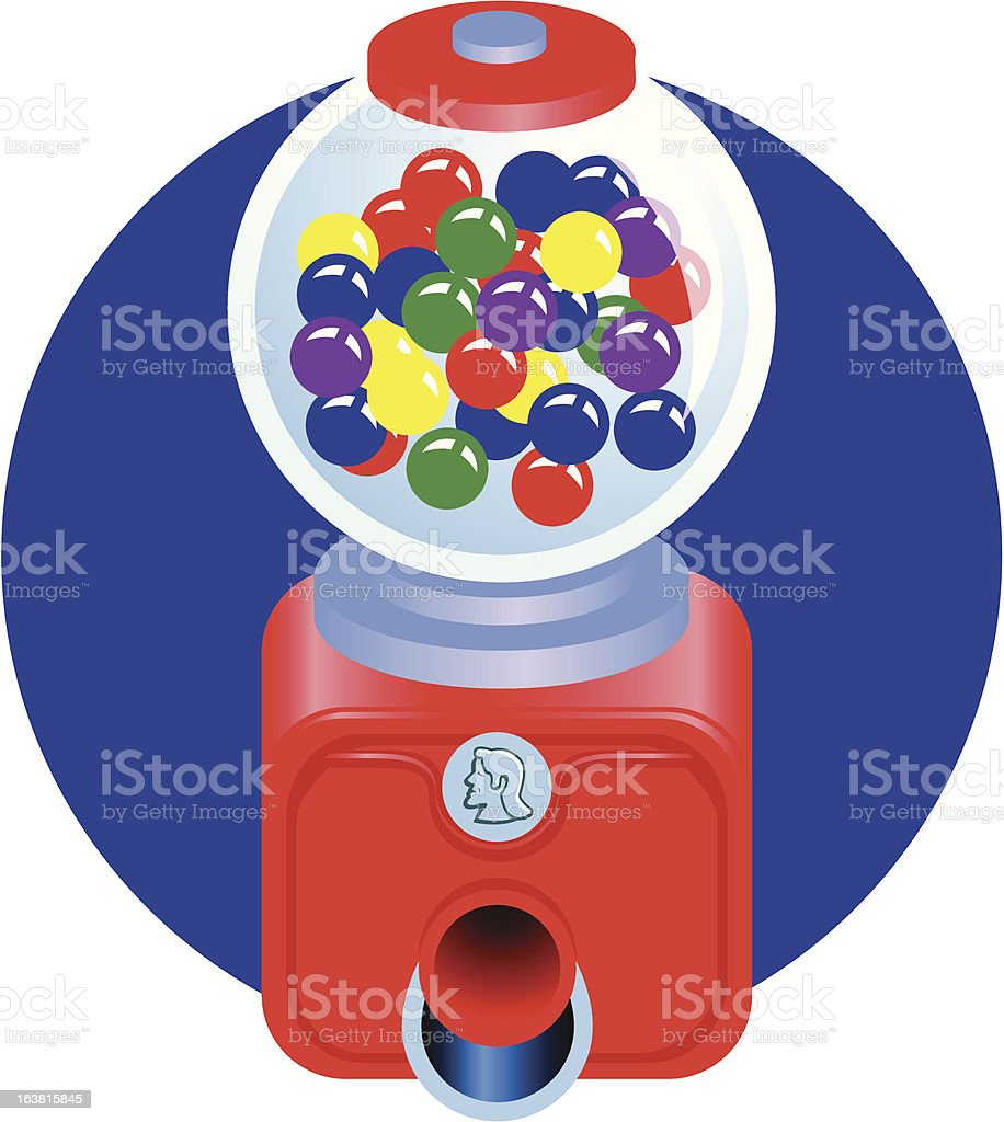 Old fashioned gum ball machine vector art illustration