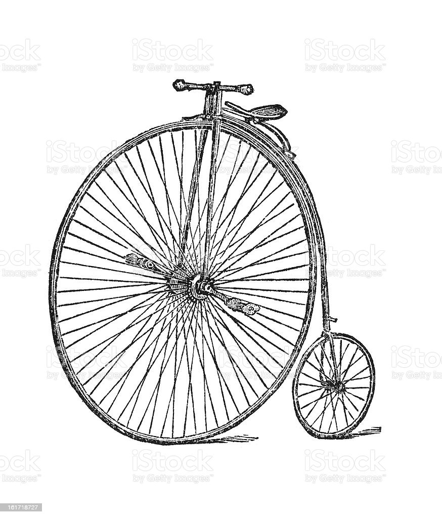 Old fashioned two wheel bike with large front wheel royalty-free stock vector art