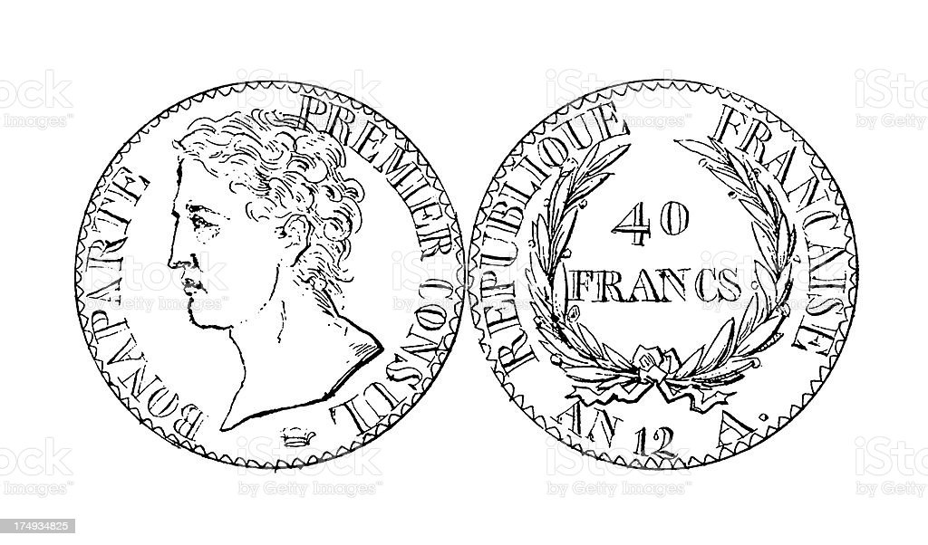 Old Forty French Franc Napoleon coin | Historic Illustrations royalty-free stock vector art