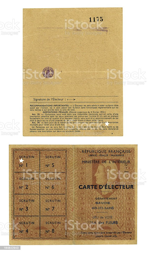 'Old French electoral card, Aix-les-Bains' vector art illustration