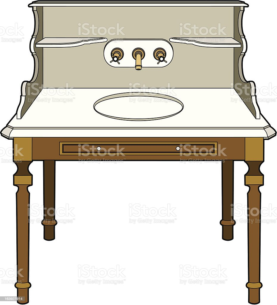 Old furniture bathroom royalty-free stock vector art