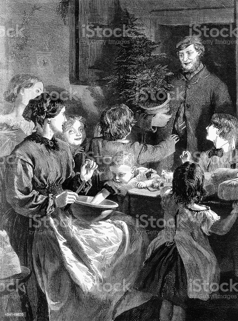 Old greyscale family Christmas scene with tree  royalty-free stock vector art