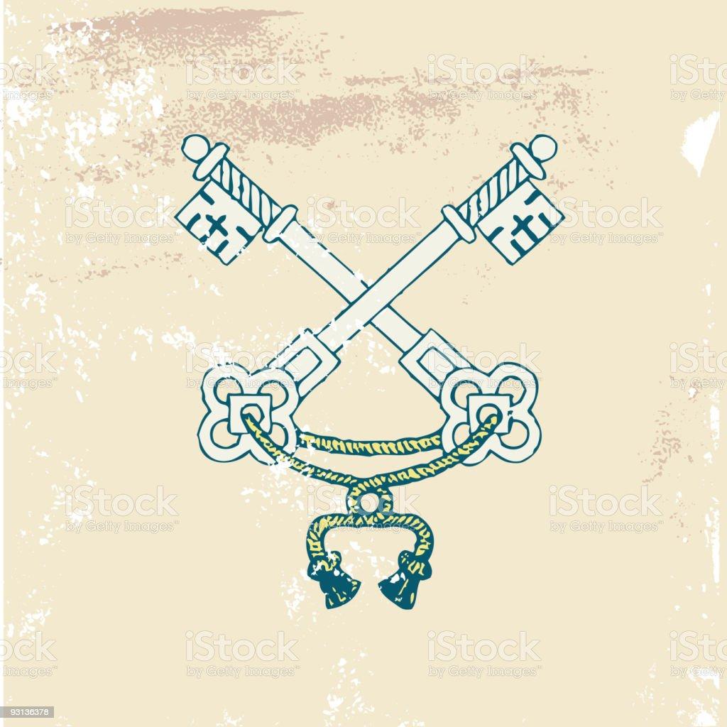 old  heraldic  keys royalty-free stock vector art