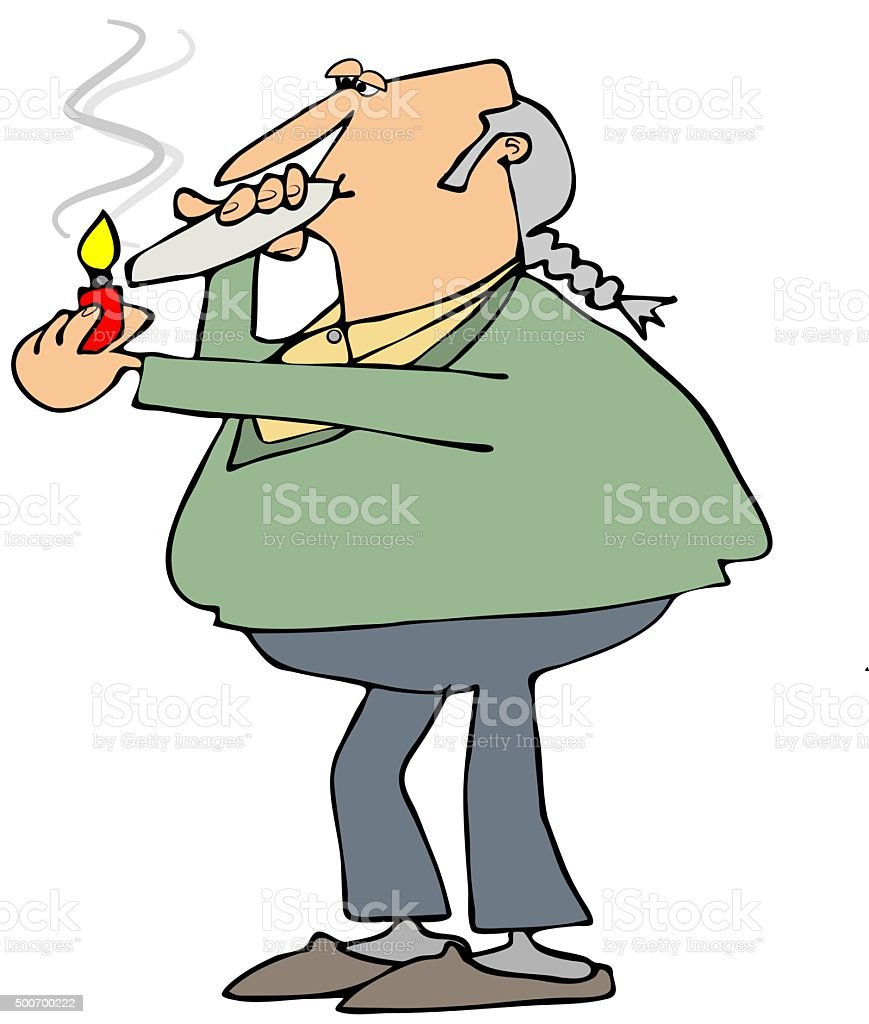 Old hippie smoking a joint vector art illustration
