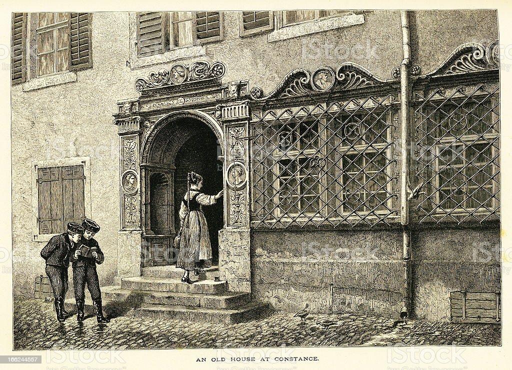 Old house at Konstanz, Germany (antique wood engraving) vector art illustration