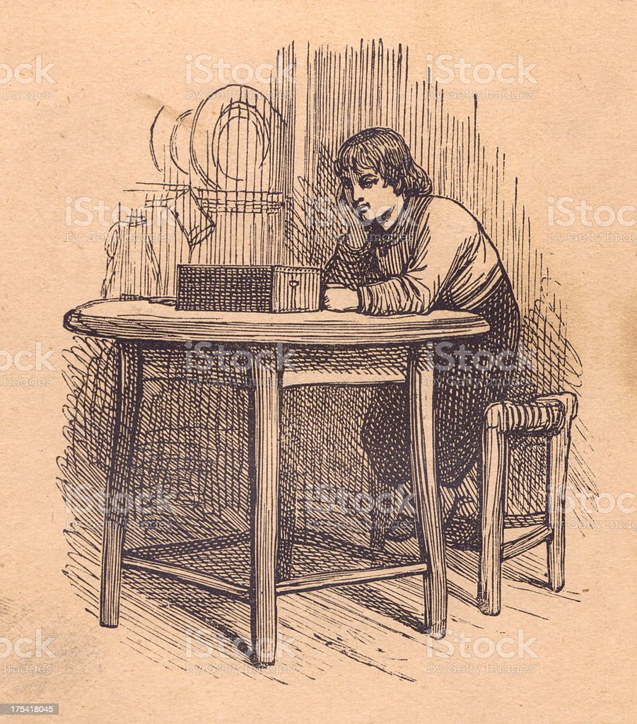 Old Illustration of Man Looking at Box on Table vector art illustration