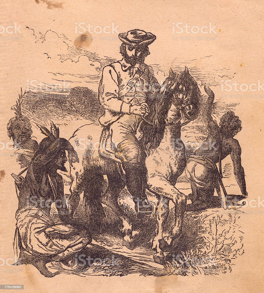 Old Illustration of Man on Horse, With Indians, 1800's vector art illustration