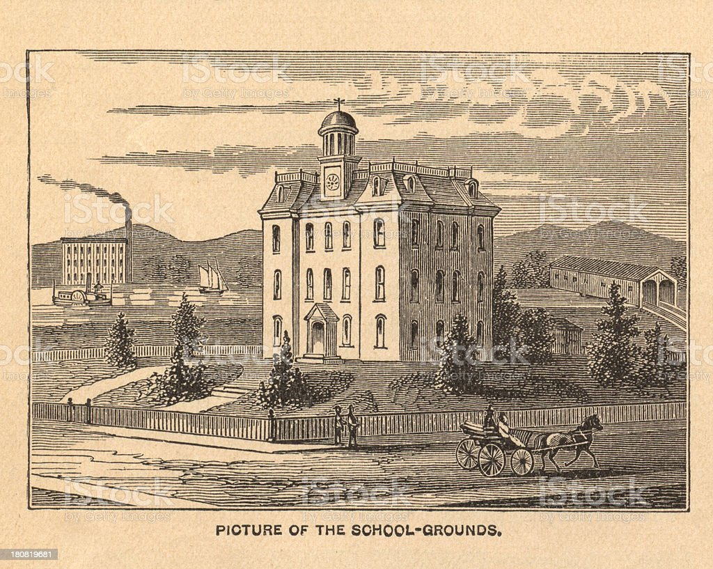 Old Illustration of School Grounds, From 1800's vector art illustration