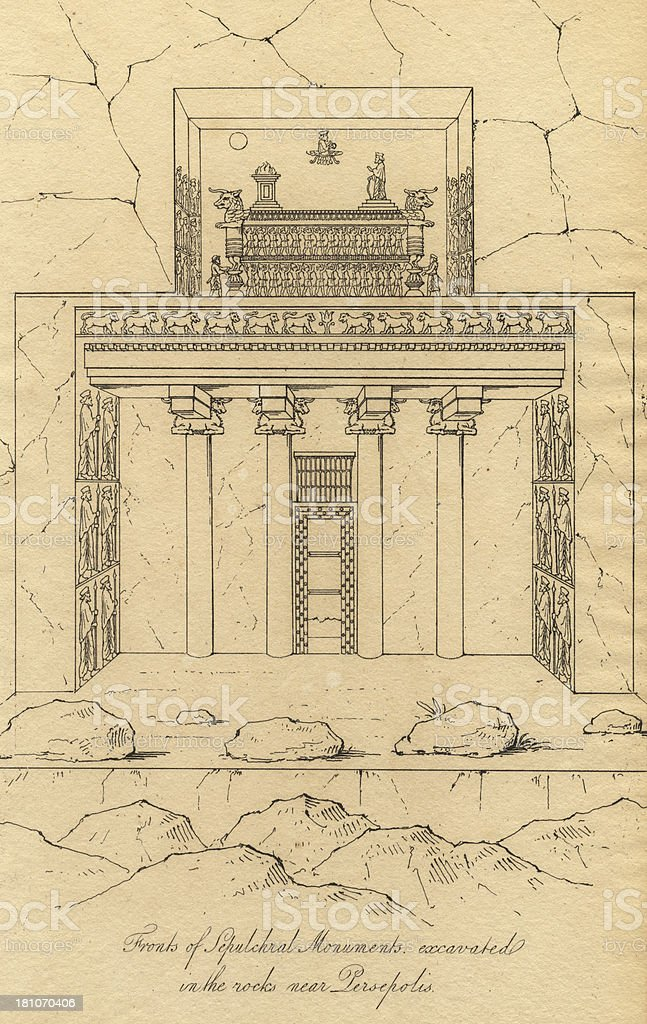 Old Illustration of Sepulchral Monument Excavated Near Persepolis royalty-free stock vector art