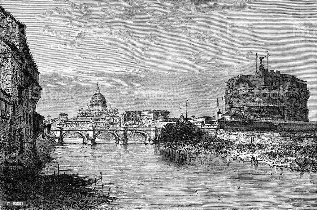 Old illustration of Tiber River and St. Peter's Basilica royalty-free stock vector art