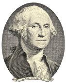 Old image of George Washington on a white background