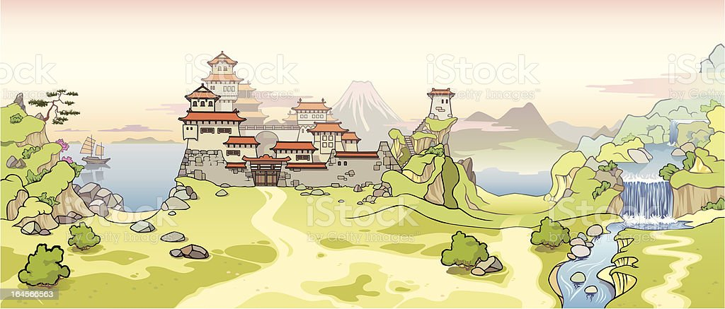 Old Japanese castle royalty-free stock vector art