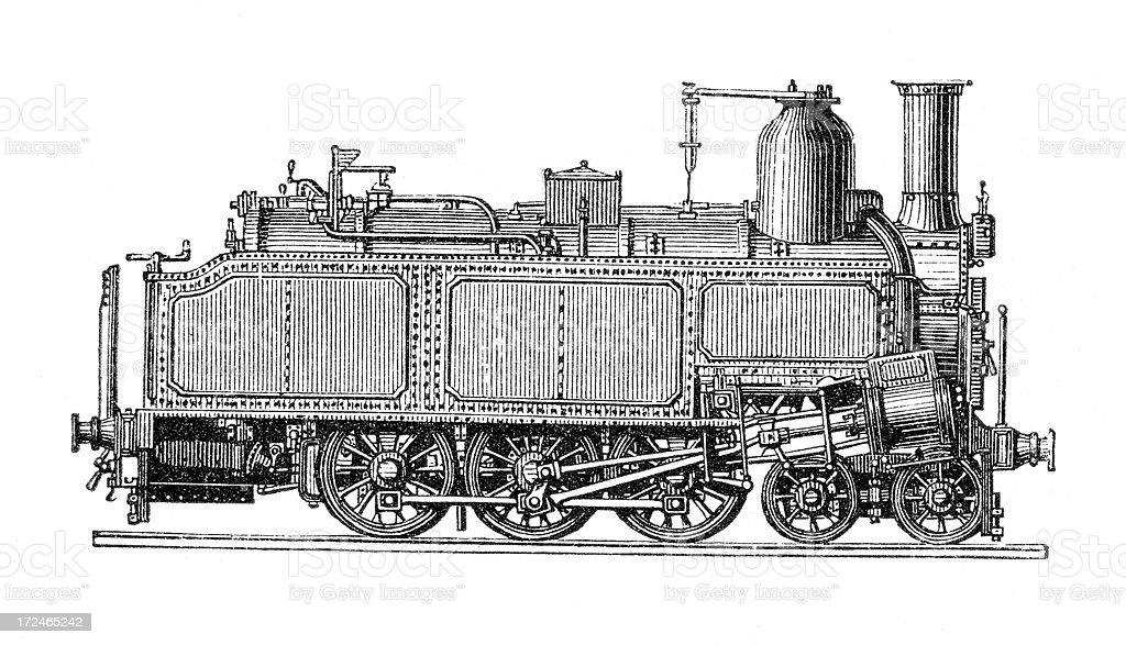 Old Locomotive Truck royalty-free stock vector art