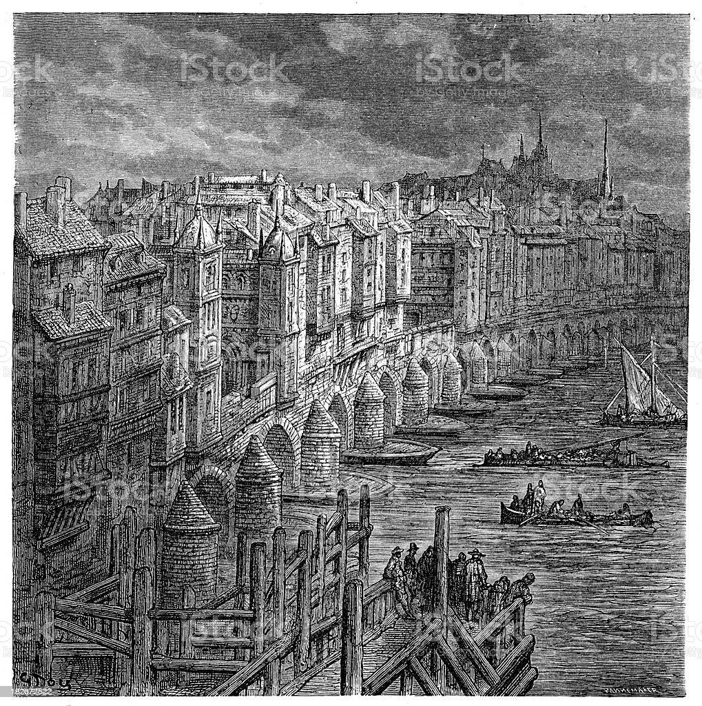 Old London Bridge 1694 royalty-free stock vector art