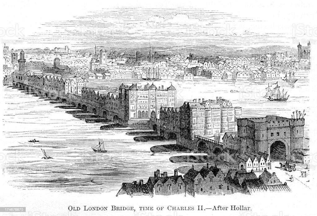 Old London Bridge royalty-free stock vector art