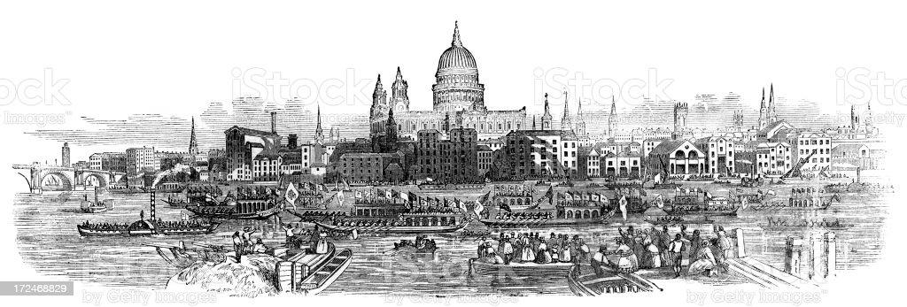 Old London Skyline royalty-free stock vector art