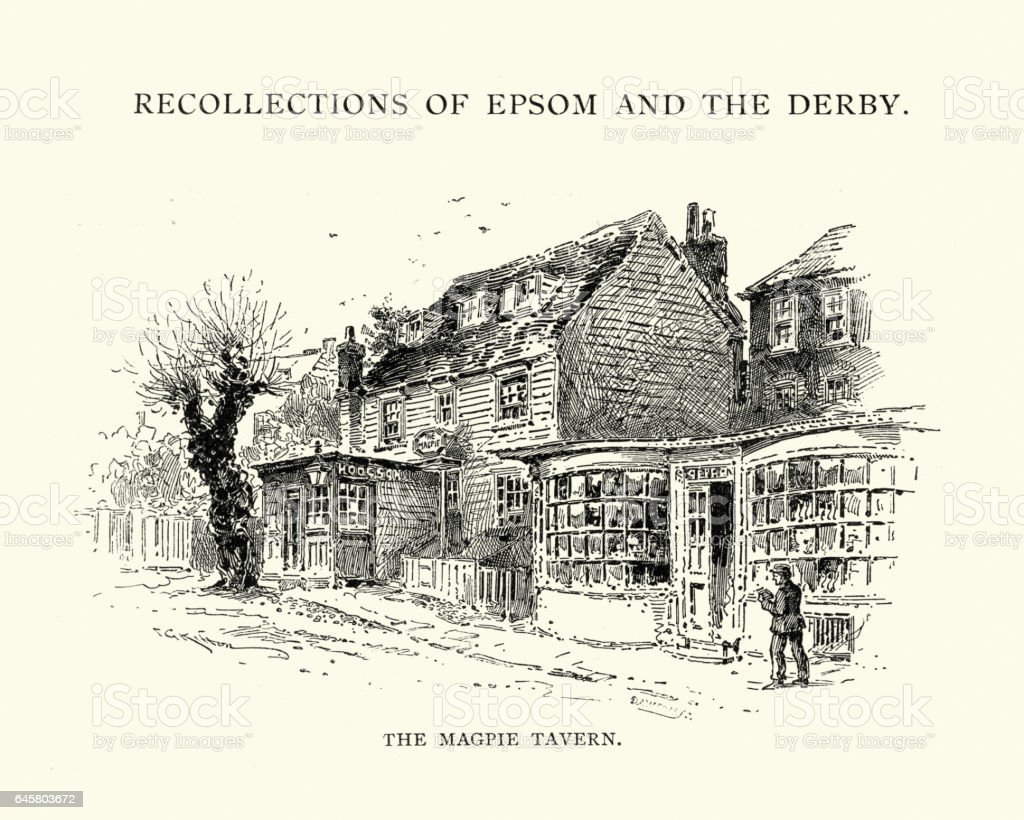 Old Magpie tavern, Epsom, 1892 vector art illustration