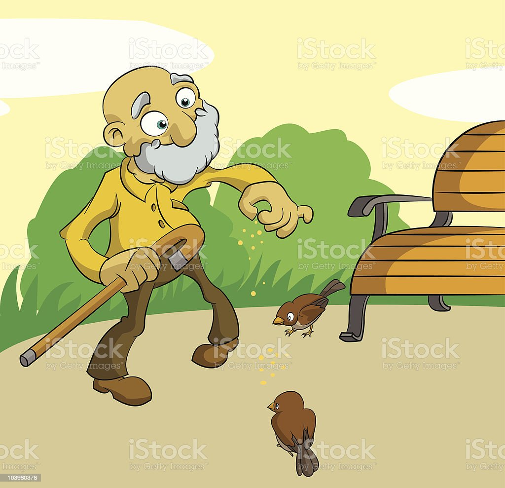 Old man feed birds royalty-free stock vector art